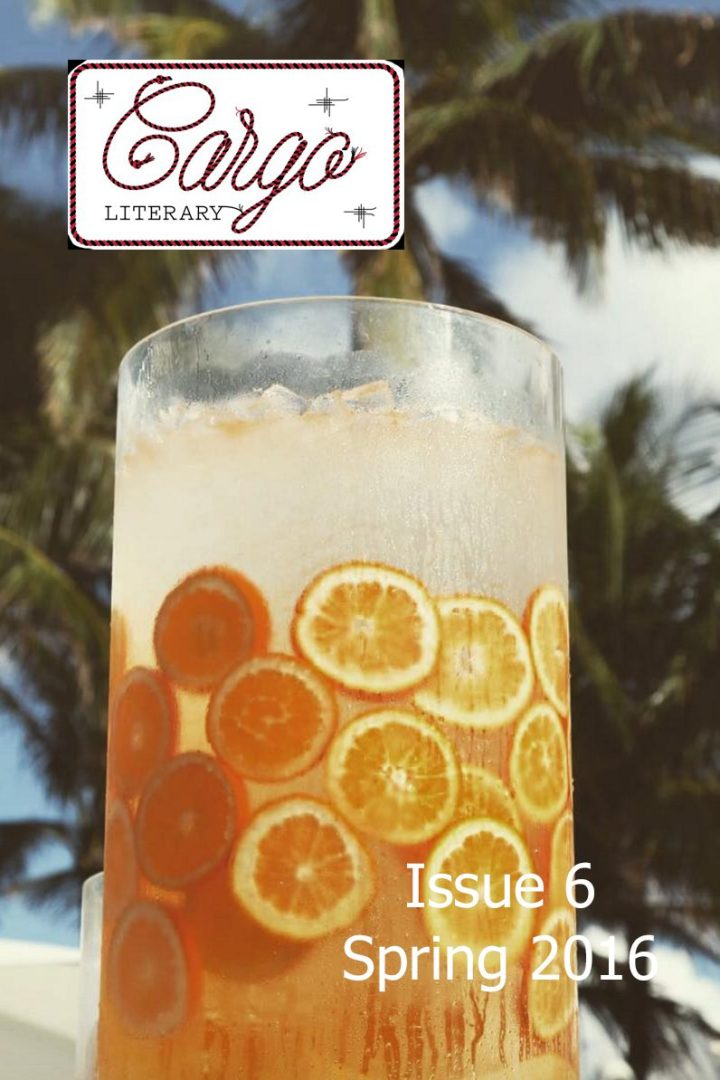cover of Cargo Literary Issue 6 Spring 2016 orange tropical drink with palm trees in background
